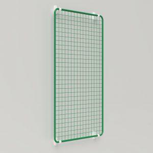 Präsent   Warenpräsentation – Präsentationsgitter rechteckig auf Fassade mit Wandhalter