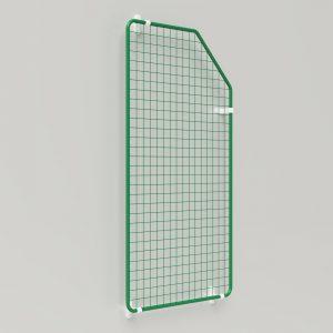Präsent | Warenpräsentation – Präsentationsgitter abgeschrägt auf Fassade mit Wandhalter