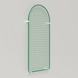 Präsent   Warenpräsentation – Präsentationsgitter halbrund auf Fassade mit Wandhalter