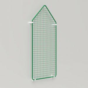Präsent | Warenpräsentation – Präsentationsgitter spitz auf Fassade mit Wandhalter
